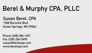 Business card of Berel CPA who is an Ocean Springs CPA, Biloxi CPA & Pascagoula CPA