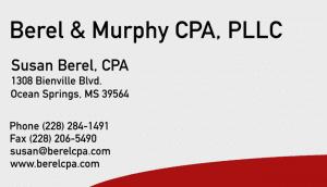 Business card of Berel CPA who is an Ocean Springs CPA, Biloxi CPA & Pascagoula CPA